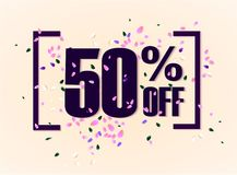 50 percent off discount promotion tag. Promo sale label. vector flares on white background. Vector illustration. Eps 10 Royalty Free Stock Photos