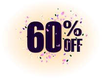 60 percent off discount promotion tag. Promo sale label. vector flares on white background. Vector illustration. 50 percent off discount promotion tag. Promo Royalty Free Stock Photography