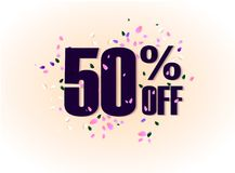 50 percent off discount promotion tag. Promo sale label. vector flares on white background. Vector illustration. Eps 10 Stock Photo