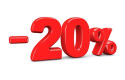 20 percent off discount sign. Red text is isolated on white. 3d render royalty free illustration