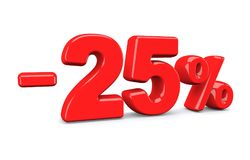 25 percent off discount sign. Red text is isolated on white. 3d render Stock Photography