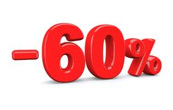 60 percent off discount sign. Red text is isolated on white. 3d render royalty free illustration