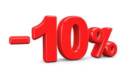 10 percent off discount sign. Red text is isolated on white. 3d render royalty free illustration
