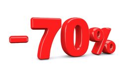 70 percent off discount sign. Red text is isolated on white. 3d render stock illustration
