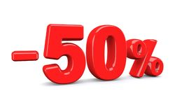 50 percent off discount sign. Red text is isolated on white. 3d render Royalty Free Stock Photos