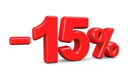 15 percent off discount sign. Red text is isolated on white. 3d render Stock Images