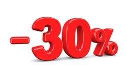 30 percent off discount sign. Red text is isolated on white. 3d render Royalty Free Stock Images