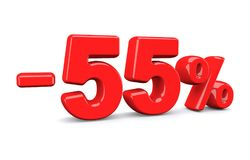 55 percent off discount sign. Red text is isolated on white. 3d render stock illustration