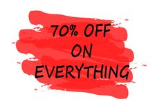 70 percent off on everything banner. 70 percent off on everything red banner Stock Photography