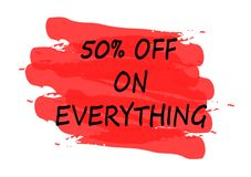 50 percent off on everything banner. 50 percent off on everything red banner Stock Photography