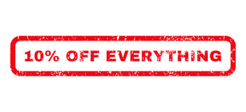 10 Percent Off Everything Rubber Stamp. 10 Percent Off Everything text rubber seal stamp watermark. Caption inside rounded rectangular banner with grunge design Royalty Free Stock Images