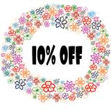10 PERCENT OFF in floral frame. Illustration graphic concept image Stock Image