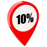 10 percent off on glossy red pin. Isolated on white background stock illustration