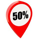 50 percent off on glossy red pin. Isolated on white background stock illustration