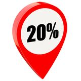 20 percent off on glossy red pin. Isolated on white background stock illustration
