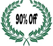 90 PERCENT OFF on green laurels sticker label. Stock Photo