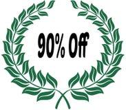90 PERCENT OFF on green laurels sticker label. Illustration image vector illustration