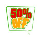 50 percent off comics icon. 50 percent off icon in comics style isolated on white background Vector Illustration
