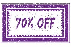 70 PERCENT OFF in magenta grunge square frame stamp. Illustration image Stock Photo
