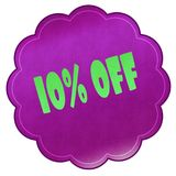 10 PERCENT OFF on magenta sticker. Illustration graphic design concept image Stock Photo