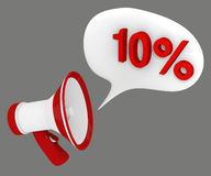 10 percent off. Megaphone and speech bubble with the words 10 percent off Royalty Free Stock Photo