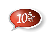 10 percent off message bubble illustration design. Over white Royalty Free Stock Photo