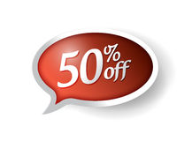 50 percent off message bubble illustration. Design over white Stock Photography