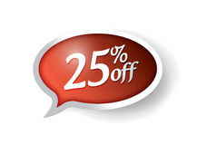25 percent off message bubble illustration design. Over white Royalty Free Stock Image