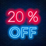 20 percent off neon lettering on brick wall background. 20 percent off neon lettering. Vector illustration vector illustration