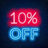 10 percent off neon lettering on brick wall background. 10 percent off neon lettering. Vector illustration stock illustration