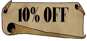 10 PERCENT OFF on old rolled paper. Illustration graphic concept image Stock Photo