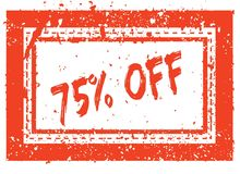 75 PERCENT OFF on orange square frame rubber stamp with grunge texture. Illustration Royalty Free Stock Photo