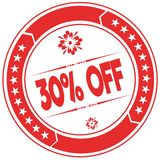 30 PERCENT OFF orange stamp. Illustration graphic concept image Stock Photo