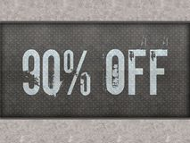 90 PERCENT OFF painted on metal panel wall. 90 PERCENT OFF painted on metal panel wall illustration Royalty Free Stock Images