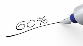 60 percent off pen concept Royalty Free Stock Image