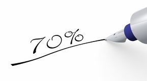 70 percent off pen concept. 3D Illustration with pen and Writing on white paper Royalty Free Stock Images