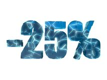 25 percent off. Broken text into several pieces glowing blue on white background Royalty Free Stock Images