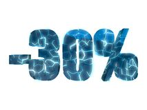 30 percent off. Broken text into several pieces glowing blue on white background Stock Photo