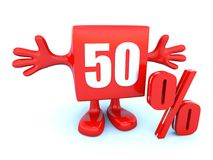 50 percent off. On happy red cube Royalty Free Stock Photos