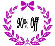 90 PERCENT OFF with pink laurels ribbon and bow. Royalty Free Stock Photo