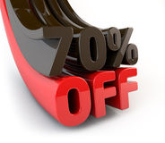 70 Percent off promotional sign Stock Photo
