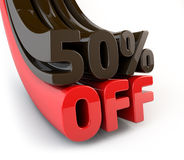 50 Percent off promotional sign. Template for designers Stock Image