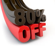 80 Percent off promotional sign Royalty Free Stock Photo