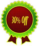 30 PERCENT OFF on red and green round ribbon badge. Illustration Stock Photography
