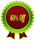 60 PERCENT OFF on red and green round ribbon badge. Illustration Stock Image