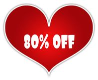 80 PERCENT OFF on red heart sticker label. Illustration concept Stock Photos
