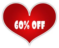 60 PERCENT OFF on red heart sticker label. Illustration concept Royalty Free Stock Photos