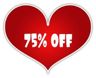 75 PERCENT OFF on red heart sticker label. Illustration concept vector illustration