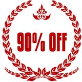 90 PERCENT OFF red laurels badge. Illustration image concept Royalty Free Stock Photography