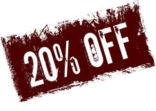20 PERCENT OFF on red retro distressed background. Illustration image stock illustration
